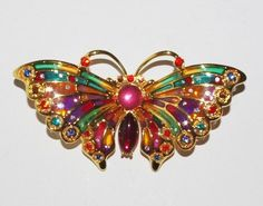 Gorgeous JOAN RIVERS Butterfly Pin Brooch Stained Glass & Crystal - S364 #JoanRivers