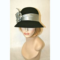 Vinzetta Millinery Wool Cloche Black W/Silver Satin Trim Flapper Hat