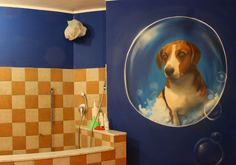 Decorative murals with spray and acrylic for a pets shop #Dog #Decoration #Murales #Spraypaint #Spray #Paint #Pets #interior #soap #bubble