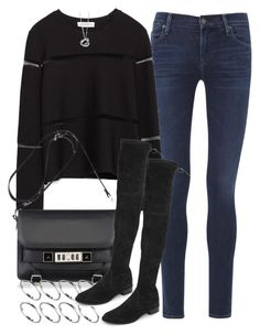 """""""Untitled #3404"""" by plainly-marie ❤ liked on Polyvore featuring Citizens of Humanity, Zara, Proenza Schouler, ASOS, Stuart Weitzman and Elsa Peretti"""