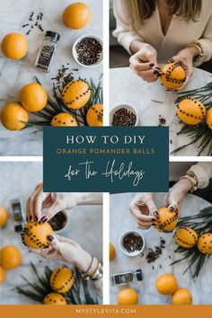 How to easily make orange pomander balls with cloves for Christmas decorating. Check out this easy step by step tutorial DIY for a festive citrus fruit centerpiece for the holidays like Thanksgiving and Christmas. #DIY Holiday Ornaments, Christmas Crafts, Christmas Decorations, Christmas Ideas, Christmas Stuff, Handmade Christmas, Holiday Ideas, Creative Homemade Gifts, Handmade Crafts