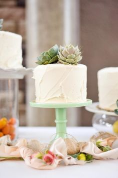 46 Ideas simple succulent wedding cake stands for 2019 Succulent Wedding Cakes, Succulent Gifts, Succulent Bouquet, Grand Jour, Wedding Cake Stands, Pretty Cakes, Simple Weddings, Here Comes The Bride, Dessert Table