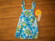 NEW Dead stock Size 1 Infant Baby Boy  Retro Plaid by LittleMarin