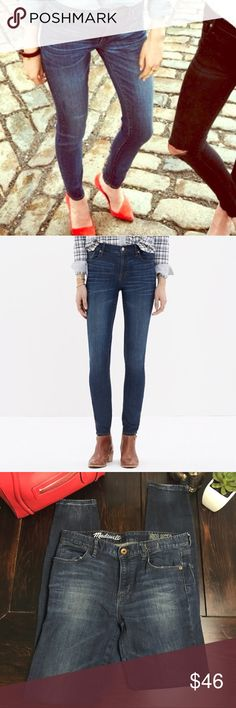"""Madewell Highriser skinny jeans dark wash Lean and sexy with a 9"""" rise (right in '70s rock-muse territory), this one's legs-for-days look and supersleek effect come from using some of the best denim in the world. Excellent used condition.    Sit slightly above hip. Fitted through hip and thigh, with a slim leg. Front rise: 9"""". Inseam: 32"""" Leg opening: 11""""  Hips: 38"""" Waist: 31""""  98% Cotton 2% Spandex  Machine wash. Item C1740. Madewell Jeans Skinny"""