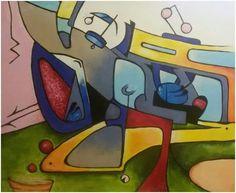 """""""První výlet """", akryl 47x57 cm."""