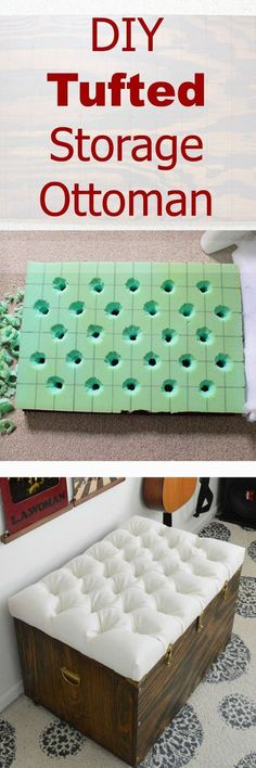 Tutorial for how to create a button tufted ottoman. Love the Antico Allover stenciled rug. www.cuttingedgestencils.com