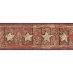 """York Wallcoverings Country Keepsakes Country Cutout Star 15' x 9"""" Wood Border Wallpaper Color: Red, Tan, Gold, Black"""