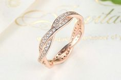 £14 - Ring, Rose Gold, Stacked,Rose Gold Twist Of Fate Ring