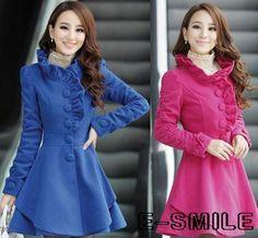 2014 new women's long standing collar falbala big pendulum wool coat