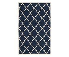 Alfombra de lana artesanal Noelle, azul y marfil - 121x182 cm