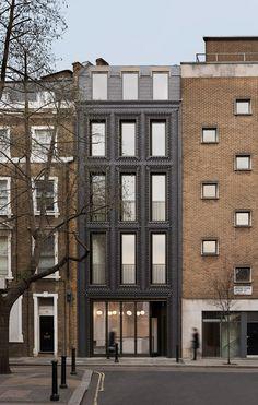 Bureau de Change inserts textured black brick building into London terrace - Architecture Detail Architecture, Innovative Architecture, Brick Architecture, Minimalist Architecture, Contemporary Architecture, Urban Architecture, London Architecture, Amazing Architecture, Brick Masonry