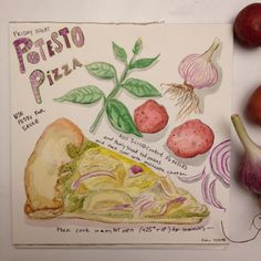 Friday night is pizza night at our house.. We try to make new ones but this is an old favorite! Here's a little recipe/illustration for you. #dailypainting #watercolor #illustration #summerofpainting #instaart #instaartist #pizza #illustratedrecipe #potesto #recipe #friday #pesto #potato #basil #garlic