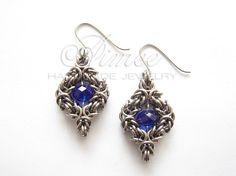 Sirius  chainmaille Swarovski earrings by AimeesJewelry on Etsy