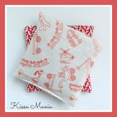 Bouillottes sèches de poche, aux graines de lin BIO, tissu vintage motif petits…