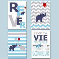 4 affiches de décoration  rêve ta vie en couleur par alexiableu affiche garçon, Chambre enfant, chambre garçon, affiche garçon, décoration garçon