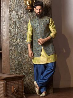 Shop Green navy silk waistcoat set online from India. Mens Indian Wear, Mens Ethnic Wear, Indian Groom Wear, Indian Men Fashion, Mens Fashion, Groom Fashion, Fashion Suits, Indian Attire, Wedding Dress Men