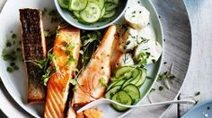 Salmon and pickled cucumbers with Danish potato salad recipe
