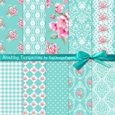 Shabby Turquoise - Digital Paper, Scrapbook Paper, Decoupage Paper, Shabby Chic Paper, Tiffany Blue, Digital Invitations, Wedding, Floral         February 02, 2015 at 01:57PM