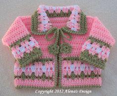 Crochet Pattern 045  Blossom Baby Jacket  3 6 12 by AlenasDesign, $9.95