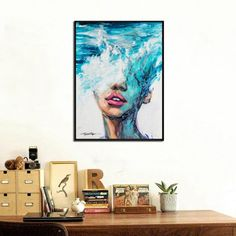 Woman with Head on The Ocean Posters and Prints Wall Art Picture Print on Canvas Painting for Living Room Home Decor No Frame Art Wall Kids, Canvas Wall Art, Wall Art Prints, Canvas Prints, Wall Art Pictures, Print Pictures, Nordic Art, Sports Art, Rooms Home Decor