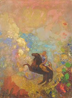 ルドンは50歳を過ぎて、鉛筆や木炭、石版画による「黒」を主体とした表現から、油彩やパステルによる華やかな色彩世界へと移行した。描かれる対象も、独自の幻想によって生み出された奇怪な生物たちから、花や神話世界へと変化する。その中に、ケンタウロスや戦車を駆るアポロン、そしてペガサスがあった。特に戦車を駆るアポロンは、ル...