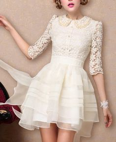 Collared Lace Tulle Dress//