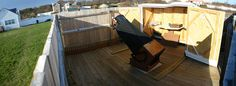 Phil Harrington's Star Watcher Observatory - roll away shed on a deck with surrounding light-screen fence.  Rare appearance of a big Dob rather than a pier-mounted SCT or refractor.