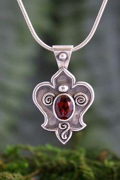 Fleur De Lis Silver Garnet Pendant. Made with love!