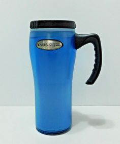 "Tall Caribou Coffee Travel Tumbler Mug w/Handle Screw on Lid Blue 8"" High 18 oz #CaribouCoffee"