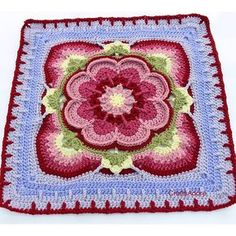Ravelry: Project Gallery for Rose of Avalon pattern by Helen Shrimpton Crochet Squares Afghan, Crochet Bedspread, Crochet Lace Edging, Crochet Quilt, Granny Square Crochet Pattern, Crochet Blocks, Crochet Stitches Patterns, Crochet Designs, Granny Squares