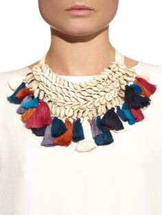 Figue Leta  shell and tassel necklace