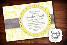 Floral Yellow and Grey Baby Shower Bridal by SimplySocialDesigns, $18.00