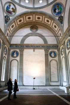 Interior view, looking north, of the Pazzi Chapel by Brunelleschi, 1442-46. Santa Croce, Florence, Italy.