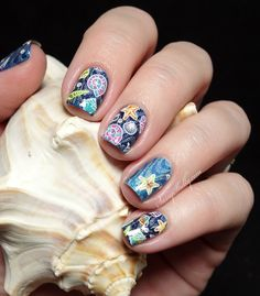 Seashells and Waves ocean manicure - stamping decal nail art technique  |  Sassy Shelly