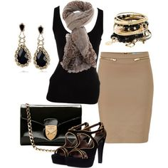 Beige and black workwear outfit Beige pencil skirt, black scooped neck top, scarf, peep toe sandles, black and gold jewellery, black clutch bag