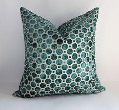 Velvet Pillow Cover / 12 x 20 / Geometric Pattern in Peacock Teal Blue. $40.00, via Etsy.