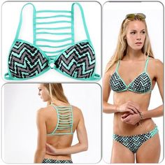 """Mint Colorblock Bikini Top Set off your curves in this flattering chevron print top that features molded cups with push up padding. Metal ring detail at center of bust. Connected shoulder straps and back strap with 3- hook sizing option for custom fit. Ladder back detailing. Fully lined. Wear with any of my matching mint colorblock bottoms for a really cute bikini set. Available in small or medium. Small fits bust 32""""-33.5"""". Medium fits bust 34""""-35.5"""". Mint Colorblock Swim Bikinis"""