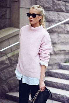 pastel sweater + white shirt untucked + black pants