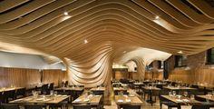 Topographic ceilings in restaurants