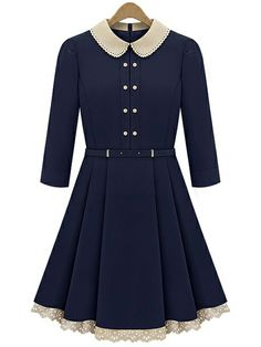 Navy Long Sleeve Contrast Lapel Pleated Dress US$37.05