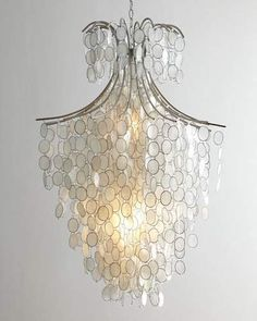 "oh my gosh, this chandelier looks almost identical to the one we will be using in our foyer, ours has more than two lights and there are crystals linked to the bottom of the shells. ""Dripping+Capiz""+Chandelier+at+Horchow. Capiz Shell Chandelier, 3 Light Chandelier, Modern Chandelier, Lamp Light, Pendant Lighting, Crystal Chandeliers, Eclectic Chandeliers, Cheap Chandelier, Light Fixture"