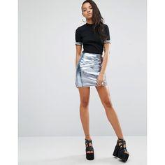 Shade London 90's Metallic Mini Skirt ($63) ❤ liked on Polyvore featuring skirts, mini skirts, silver, mini skirt, high-waisted skirts, high waisted mini skirt, short bodycon skirt and body con mini skirt