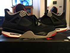 separation shoes 64312 7f519 NIKE AIR JORDAN IV 4 RETRO BRED BLACK CEMENT GREY FIRE RED WHITE SIZE 12