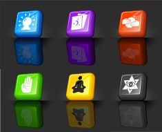 colorful button icons of psychic symbols vector art illustration