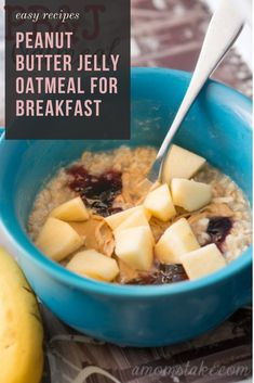 Oatmeal is a heaty and great way to start the day! Add some flavor with this east Peanut Butter Jelly Oatmeal for Breakfast! In our family. Breakfast Crockpot Recipes, Vegetarian Breakfast Recipes, Oatmeal Recipes, Recipes Dinner, Casserole Recipes, Pasta Recipes, Soup Recipes, Chicken Recipes, Sweet Breakfast