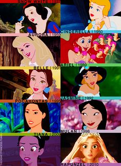 Princess and their release years  thedisneyprincess.tumblr.com