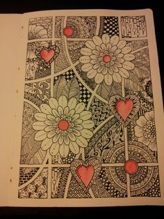 Zentangle art journal page. Based on a pin from sugarbirdart.blogspot.com. Miranda Bosch - Thurlings
