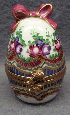 Vintage Limoges Hand Painted Porcelain Box Scent Holder & Bottle