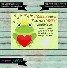 Frog Toad Prince Valentine's Day Cards Kids Valentines School Class Scratch Off