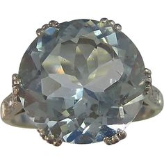 Downton Abbey Natural Aquamarine Diamond Art Deco Platinum Ring from Mayfair Estate & Antique Jewelry on RubyLane.com
